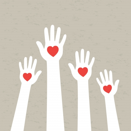 Handen met harten Vector illustratie Stock Illustratie