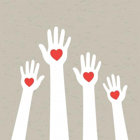 Hands with hearts  Vector illustration Banco de Imagens - 23508744