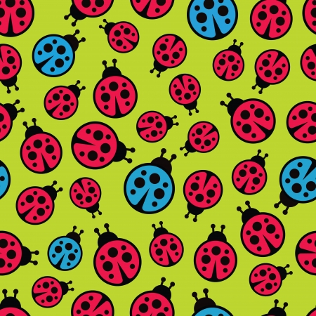 Ladybugs seamless background  Vector illustration  Vector