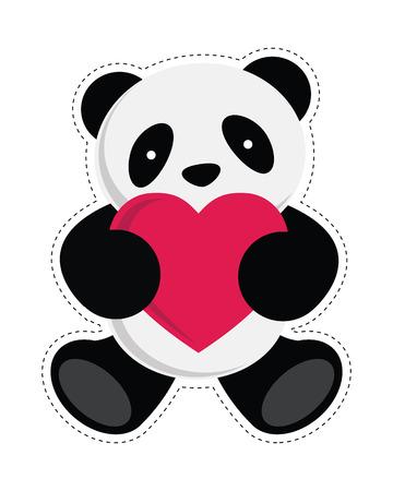 パンダの心を保持しているベクトル イラスト