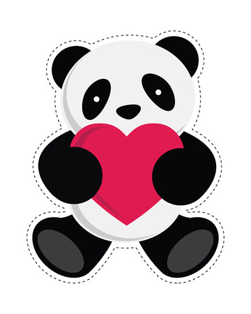panda: Panda holding heart  Vector illustration
