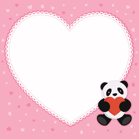 Panda bear with red heart  Valentine card  Vector