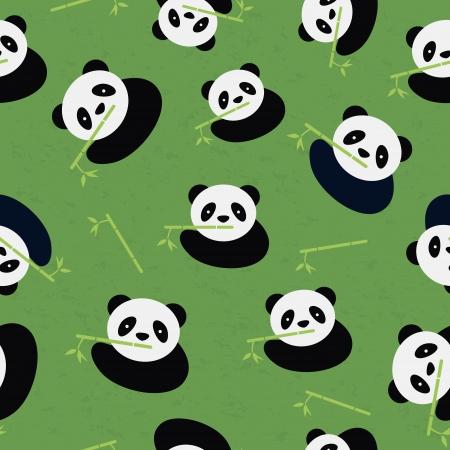 panda bear: Seamless panda bear pattern  Vector illustration  Illustration