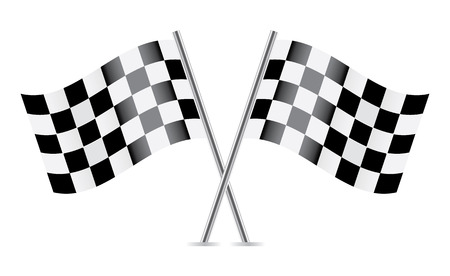 two crossed checkered flags: Checkered Flags  racing flags   Vector illustration