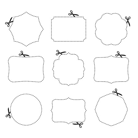 Scissors cutting different frames  Vector illustration