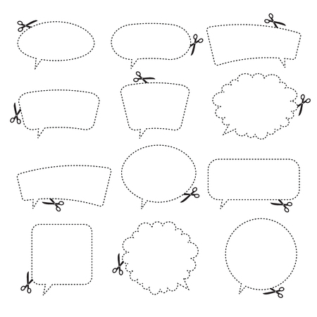 Scissors cutting speech bubbles  Vector illustration  Vector