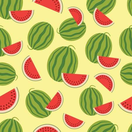 melon fruit: Watermelon seamless background  Vector illustration