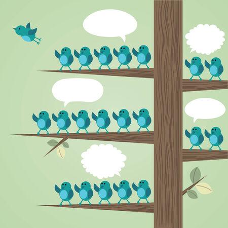 goodbye: Tree with many birds Illustration