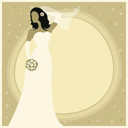 bride bouquet: Vector illustration of a bride holding bouquet  Bridal shower, wedding invitation template