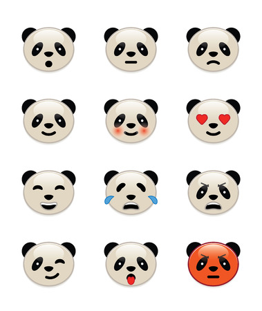 Panda bear emotion icons Vector