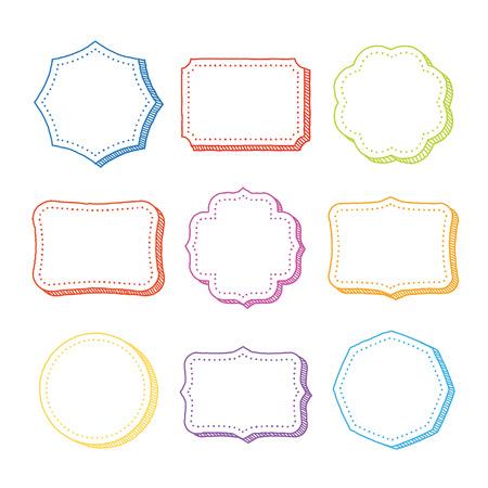 title hands: Vector set of hand drawn frames