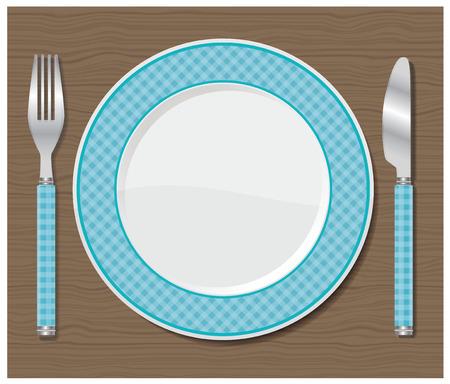 ディナー皿、ナイフとフォークのベクトル図