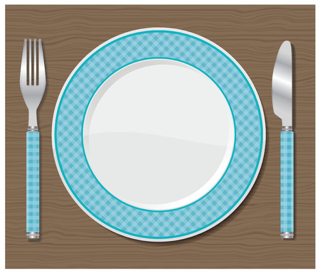 Dinner plate, knife and fork  Vector illustration