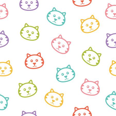 カラフルな猫とシームレスなベクトル パターン  イラスト・ベクター素材