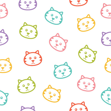 Seamless vector pattern with colorful cats Banco de Imagens - 27531885