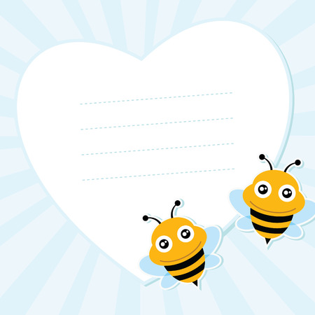 Two flying bees and heart shape  Vector illustration  Vector