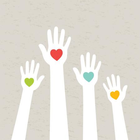 Manos con corazones ilustración vectorial Foto de archivo - 27895568