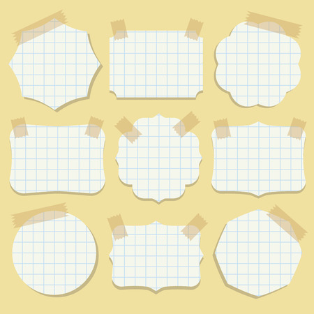 scotch: Shapes of note paper with tape  Vector illustration