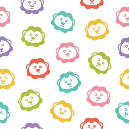 leon bebe: Fondo inconsútil del vector con los leones de colores