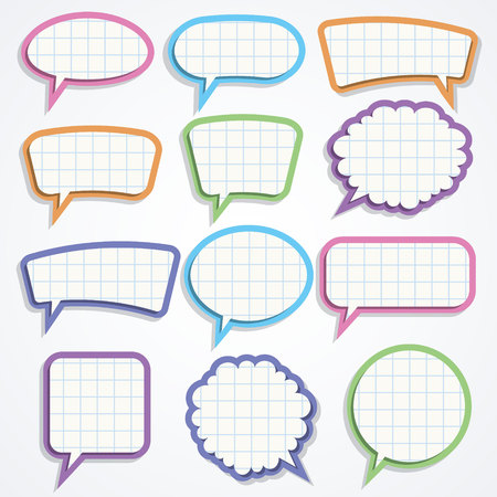 Vector set of colorful paper speech bubbles