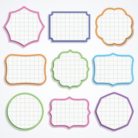 Set of colorful note paper shapes  Vector illustration  Vector
