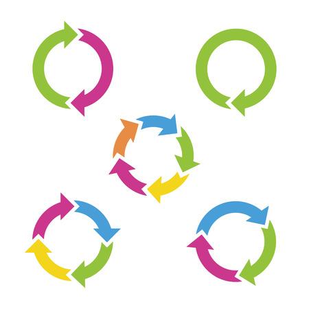 raccolta differenziata: Frecce del ciclo colorate Vettoriali