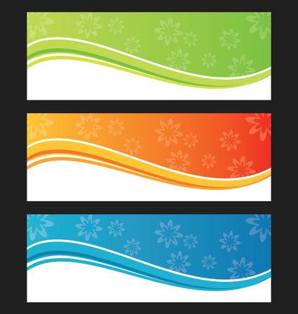 orange swirl: Set of wave  background  banner or header  Vector illustration