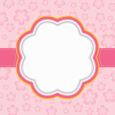 Pink floral frame  Vector illustration  Vector