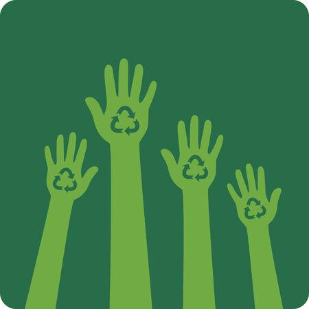 recycle symbol vector: Recycle design  Hands with recycle symbol  Vector illustration  Illustration