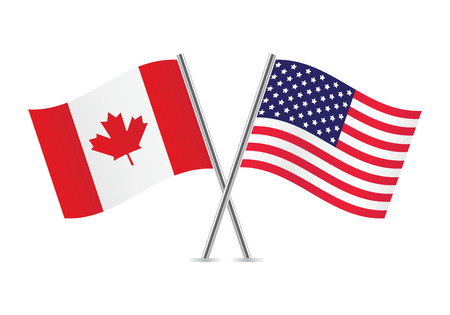 American and Canadian flags  illustration  Vectores
