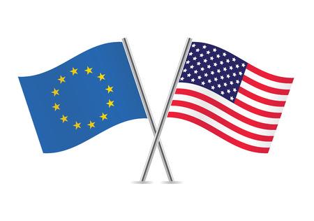 bandera blanca: Uni�n Europea y banderas estadounidenses ilustraci�n