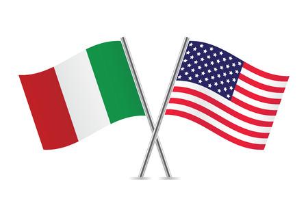 Bandeiras americanas e italianas Ilustração