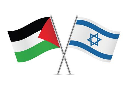 Palestine and Israel flags illustration