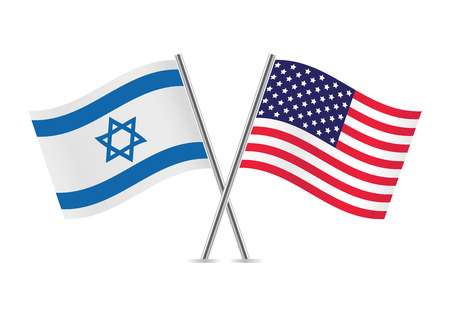 United States and Israel flags illustration  Vector
