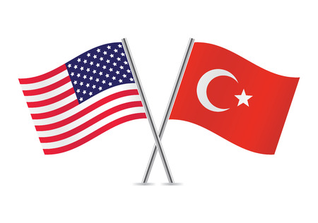 American and Turkey flags illustration
