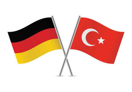 German and Turkish flags illustration