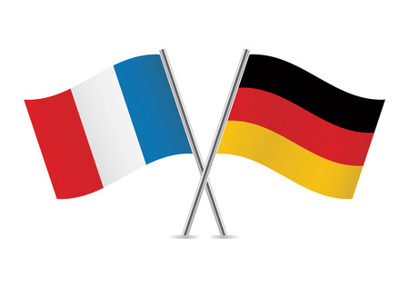 Duitse en Franse vlaggen illustratie Stock Illustratie