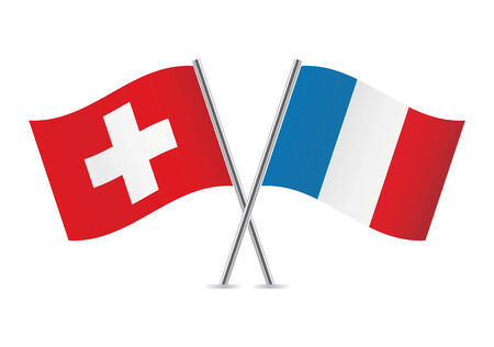 Switzerland and French flags illustration