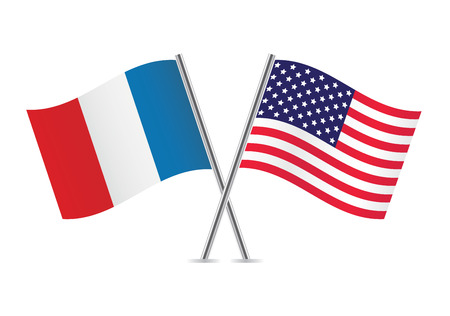 American and French flags illustration  Ilustracja