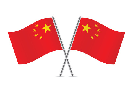 Chinese flags  illustration  Illustration