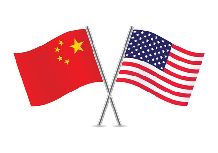 Chinese and American flags  illustration  일러스트