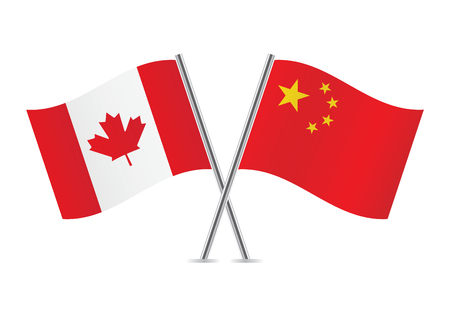 canadian flag: Canadian and Chinese flags illustration  Illustration
