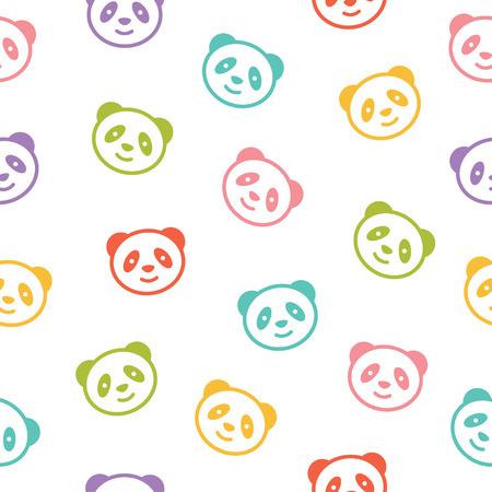 パンダのクマとのシームレスなカラフルなパターン。ベクトルの図。