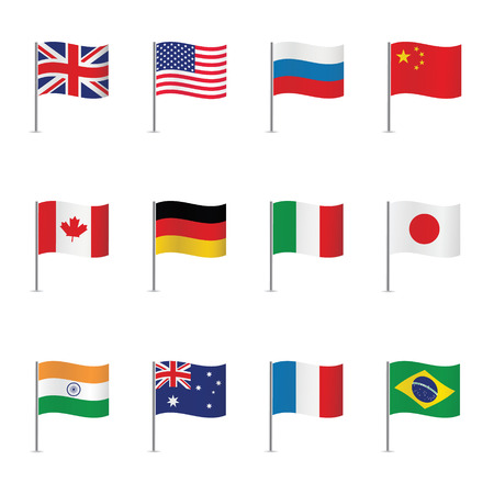 World flags. Vector set. Çizim