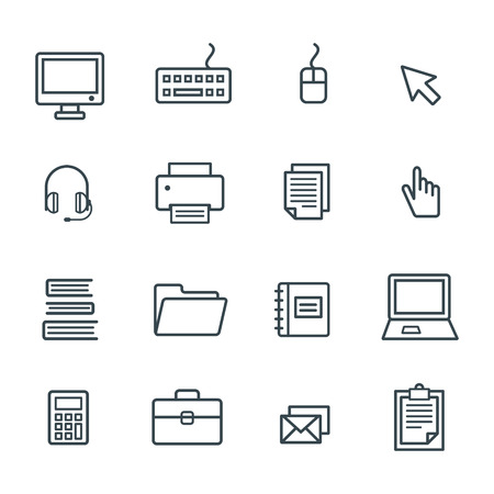 office icon: Business Office Icon Set . Vector Graphic
