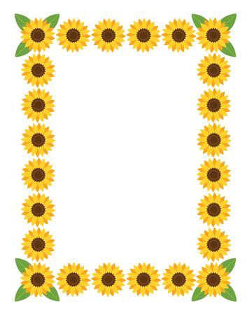 girasol: Marco vertical con flores. Ilustración del vector.