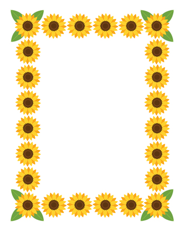 sunflowers: Vertical frame with flowers. Vector illustration.