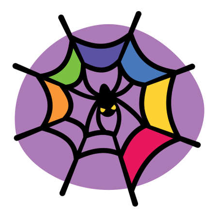 animal eyes: Colorful spiderweb and spider. Vector illustration