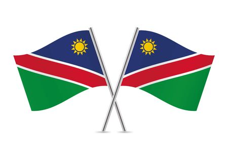 Namibia flags on white background. Иллюстрация