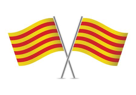 Banderas de Cataluña. Ilustración del vector.